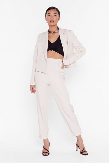 So Bossy Tailored Tapered Pants, Stone