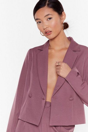 So Bossy Cropped Tailored Blazer, Mauve