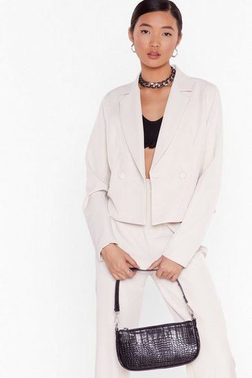 So Bossy Cropped Tailored Blazer, Stone