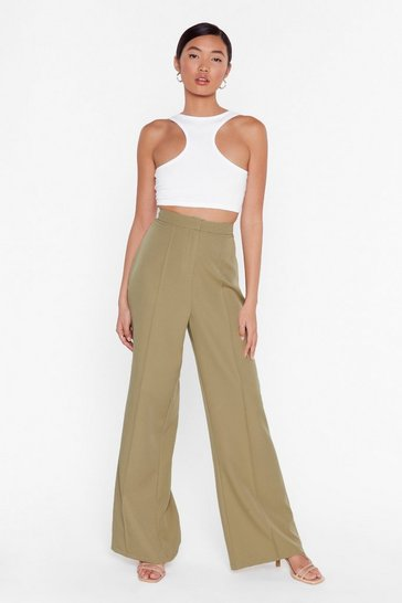 I'll Be All Wide-Leg High-Waisted Pants, Sage