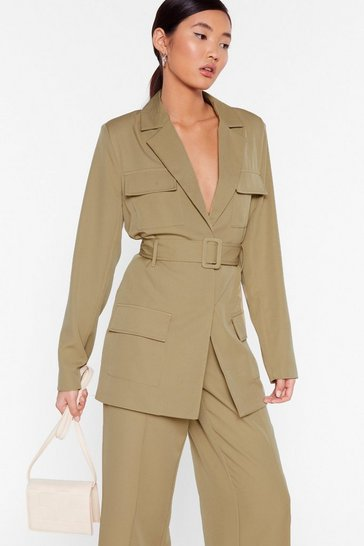 Give 'Em the Suit Longline Utility Blazer, Sage