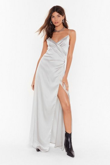 Silver When the Moon's Out Satin Maxi Dress