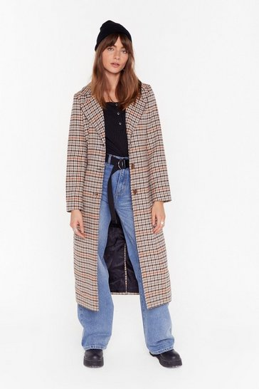 Womens Stone The Winner Check's It All Longline Coat