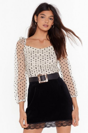 Womens Cream You Dot It Girl Organza Crop Top