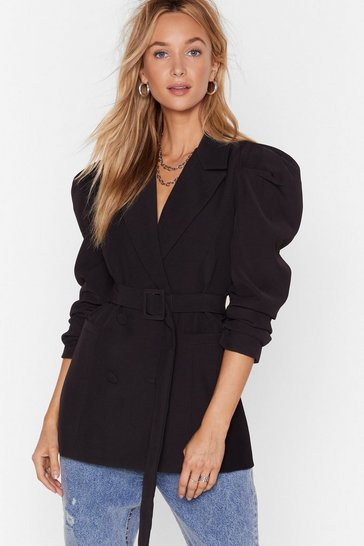 Black Feelin' Powerful Puff Shoulder Belted Blazer