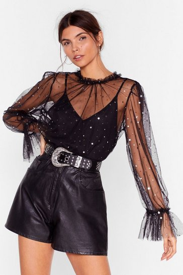 Womens Black Star-t of Something New Star Mesh Blouse