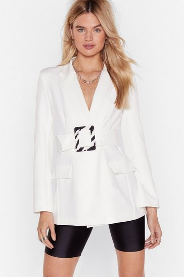 Blazer ceinturé à boucle oversize zébrée Sauvage is the new color, White