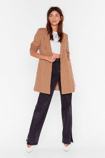 Beige Just in Line Pinstripe Belted Blazer