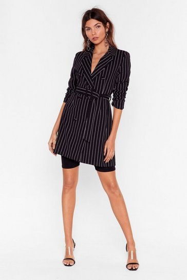 Black Just in Line Pinstripe Belted Blazer