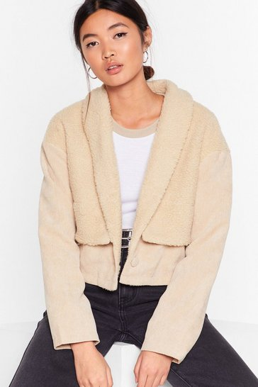 Womens Cream Struck a Cord-uroy Faux Shearling Jacket