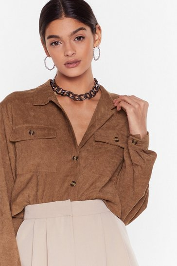 Tan Record-uroy Label Button-Down Cropped Shirt