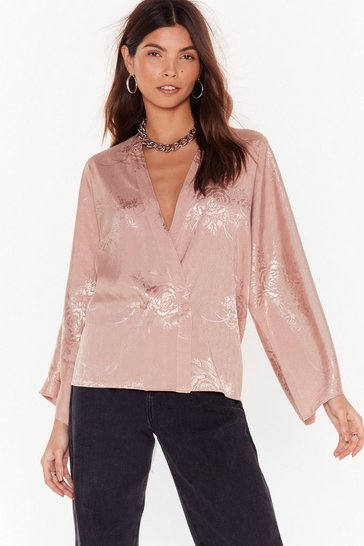 Womens Rose Grow Hey Good Looking Satin Jacquard Blouse