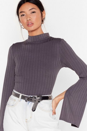 Grey Friends in High Places Ribbed Bodysuit