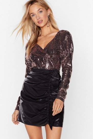 Rose gold Disco Fever Glitter High-Leg Bodysuit