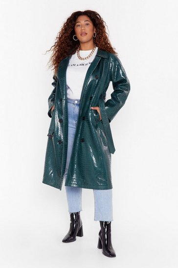 Green Croc My World Plus Trench Coat