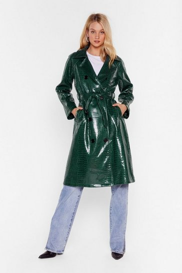 Green Croc My World Belted Trench Coat