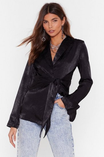 Black Make It Satin Tie Cropped Blouse
