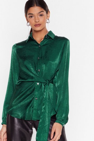 Emerald Don't Tie to Stop Us Satin Shirt