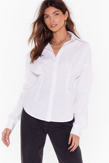 Womens White Collar If You Hear Me Fitted Shirt