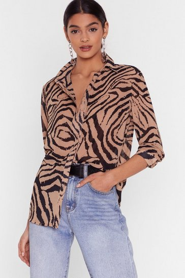 Stone We Must Be Herd Zebra Chiffon Shirt