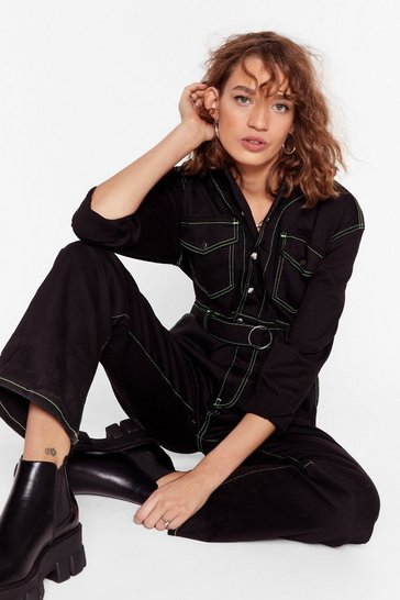 Black A Total Stitch Fest Long Denim Boilersuit
