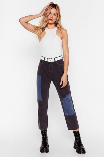 Black You're a Total Patch High-Waisted Denim Jeans