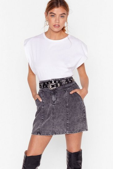 Washed black Seam Better Denim Mini Skirt