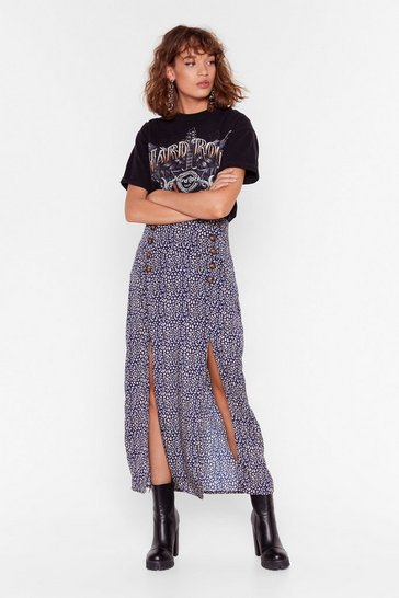 Womens navy animal double split maxi skirt