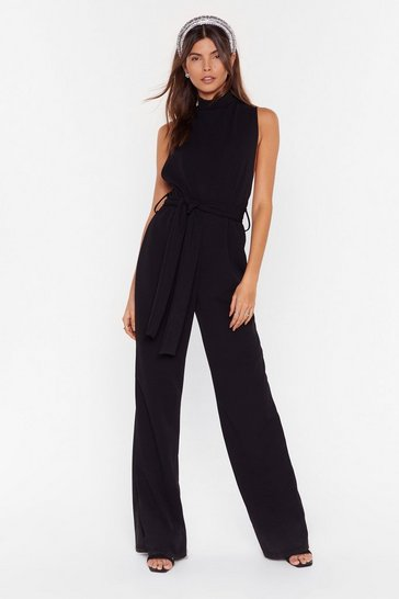 Black Life is a Dancefloor High Neck Belted Jumpsuit