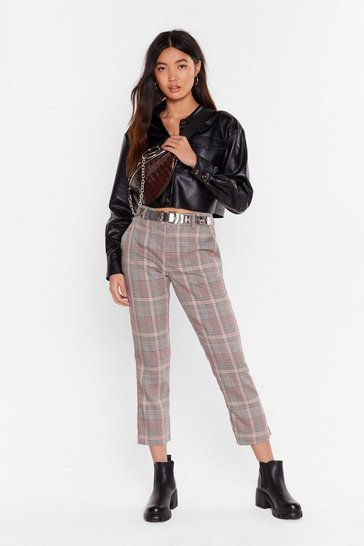Womens Beige One Check at a Time Tapered Pants