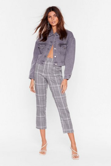 Womens Black One Check at a Time Tapered Pants