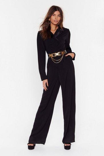 Black Tailored Wide-Leg Jumpsuit with V-Neckline