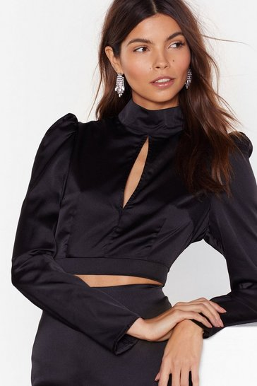 Black Oh So Smooth Satin Cut-Out Blouse