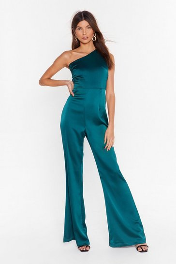 Womens Green one shoulder flared leg jumpsuit