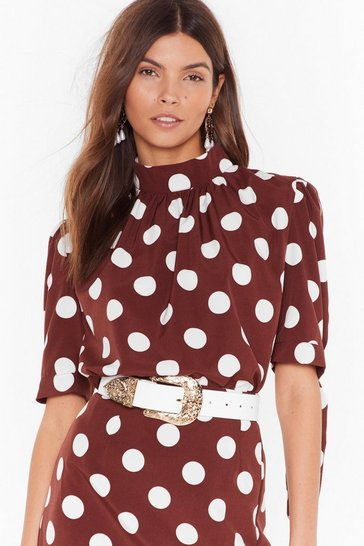 Womens Chocolate Sorry is Dot Enough High Neck Blouse