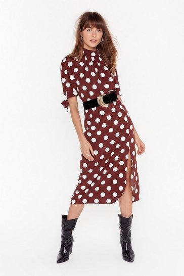 Womens Chocolate Sorry is Dot Enough High-Waisted Midi Skirt