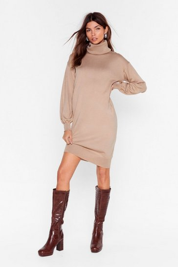 Beige Such a Roll Model Knit Mini Dress