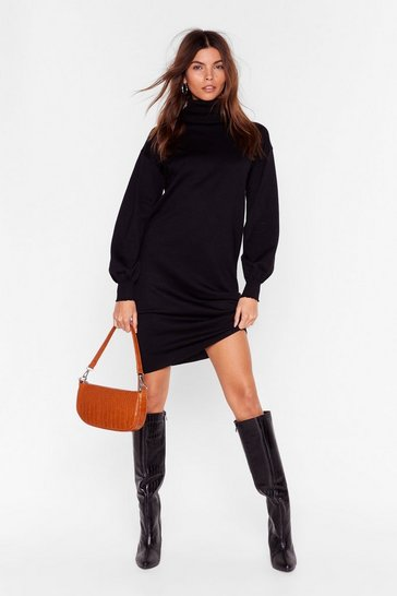 Black Such a Roll Model Knit Mini Dress