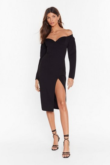 Womens Black bardot puff sleeve midi dress