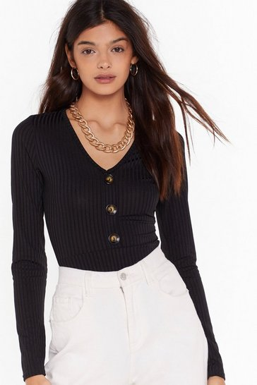 Black Always V My Baby Ribbed Button-Down Bodysuit