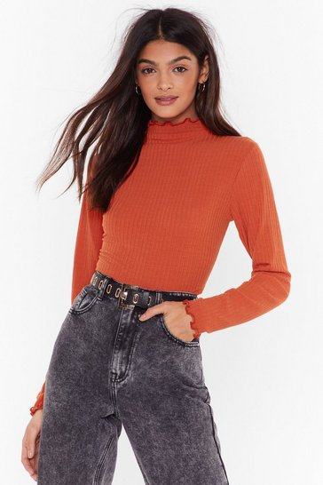Womens Rust Dancin' on the Edge Ribbed Sweater