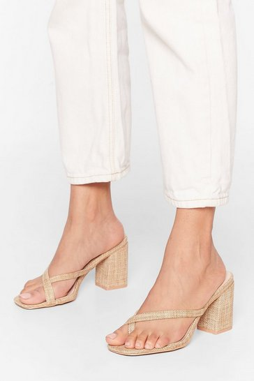 Natural Don't Talk Toe Me Woven Heeled Sandals