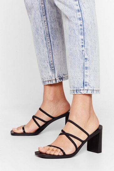 Black Actin' Cagey Strappy Heeled Mules