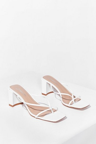 White Mule Be Back Strappy Block Heeled Mules