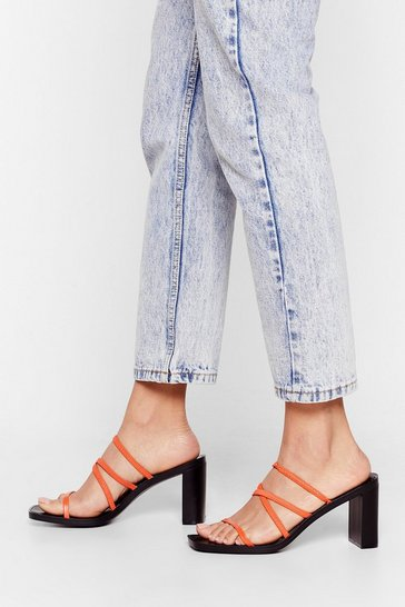 Orange Actin' Cagey Strappy Heeled Mules