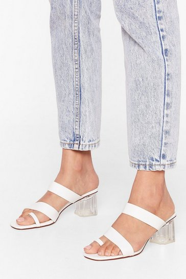 White It's a Mule World Strappy Clear Heel Mules