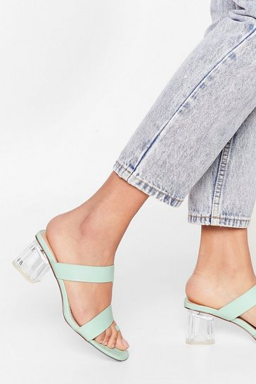 Mint It's a Mule World Strappy Clear Heel Mules