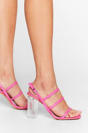 Pink Lucite Dreaming Strappy Clear Heels