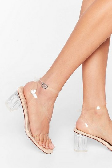 Nude A Clear Vision Low Block Heels