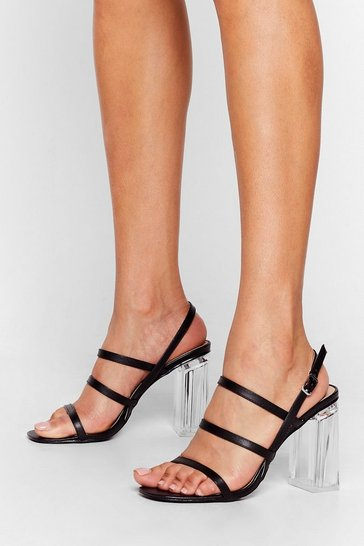 Black Lucite Dreaming Strappy Clear Heels